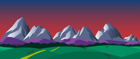 2d wallpaper: Cartoon nature seamless horizontal landscape with mountains, hills and night sky. Vector illustration. Parallax background for endless runner games. Illustration