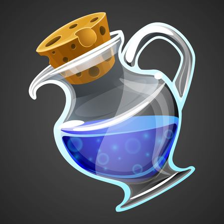 alchemist: Vector cartoon potion bottle. Vial with blue liquid for game icons. GUI asset. Illustration