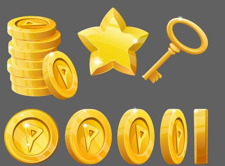levels: Set of gold items, coins, star and key. Resource icons for games. Vector illustration.