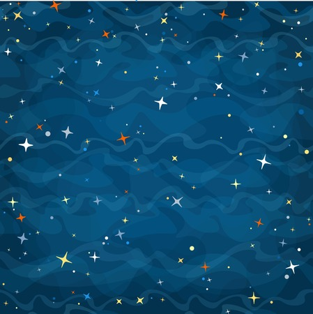 2d wallpaper: Cartoon space seamless background with colorful stars. Night starry sky. Vector illustration.