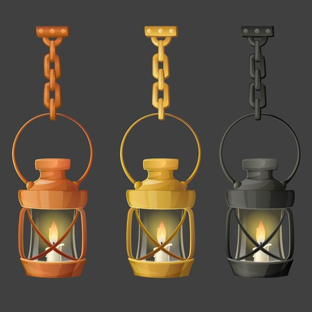 paraffin: Set of metal lamps or lanterns holding on chain. Vector illustration.