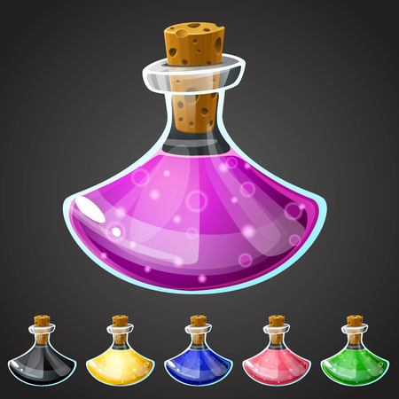 magic potion: Set of vector cartoon potion bottle. Vial with colorful liquid for game icons. GUI asset.
