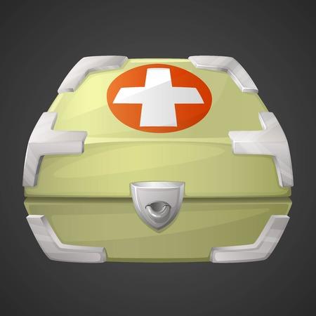 medicine box: Vector funnycartoon medicine box or case for GUI. 2d UI game asset illustration.