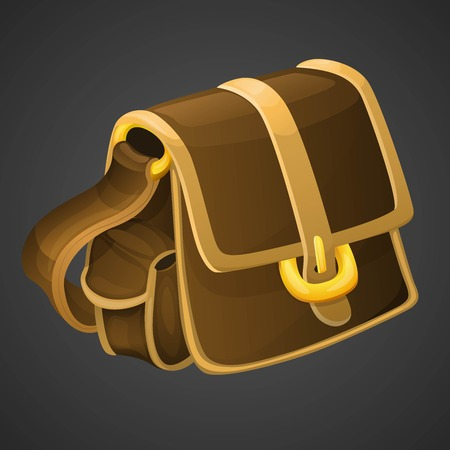 bag cartoon: Cartoon old leather bag icon for 2d games. Vector illustration.