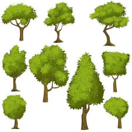 bushes: Set of funny cartoon trees and green bushes. Vector illustration.