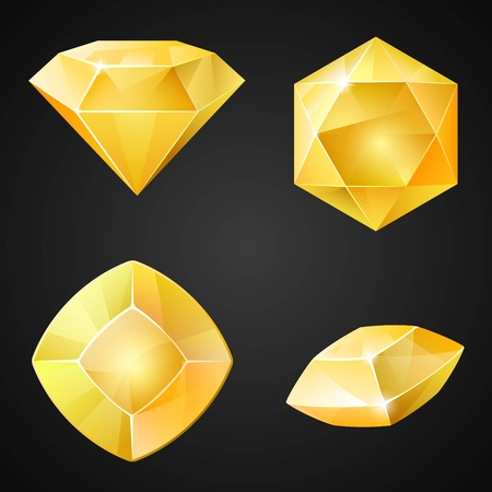 asset: Set of yellow gemstones. 2d crystal asset for games collection. Vector illustration.