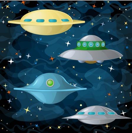 Conjunto de naves espaciales de ovnis en estilo cómico. Ilustración del vector.