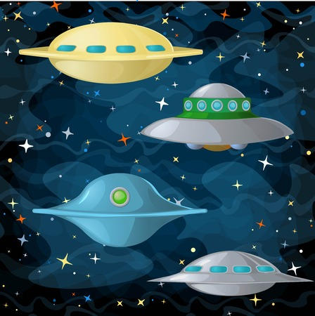 space invaders game: Set of ufo spaceships in comic cartoon style. Vector illustration. Illustration