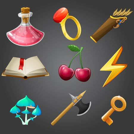poisoned: Cartoon icons collection for 2d games, vector illustration.