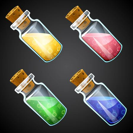 antidote: Set of vector cartoon potion bottle. Vial with colorful liquid for game icons. GUI asset.