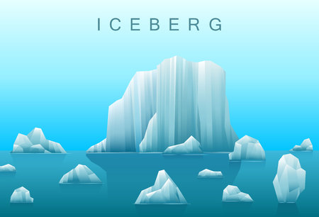 antarctic: Vector background of icebergs and sea.Illustration of Arctic or antarctic landscape.