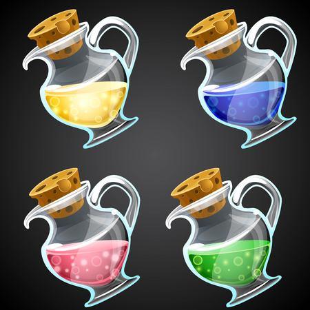 Conjunto de botella de la poción de dibujos animados del vector. Frasco con el líquido colorido de iconos de juegos. activo GUI. Foto de archivo - 58672477