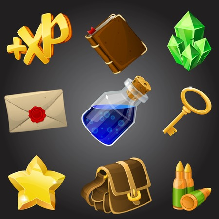 Cartoon icons collection for 2d games, vector illustration.