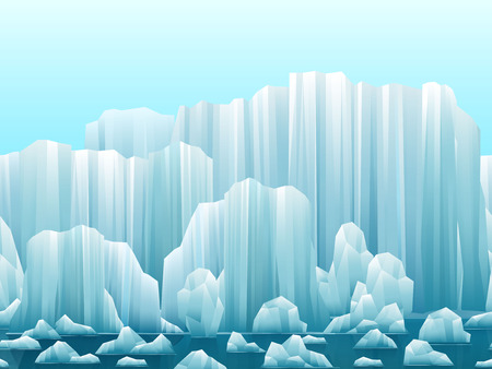 antarctic: Parallax background of icebergs and sea. Vector illustration. Arctic or antarctic landscape.