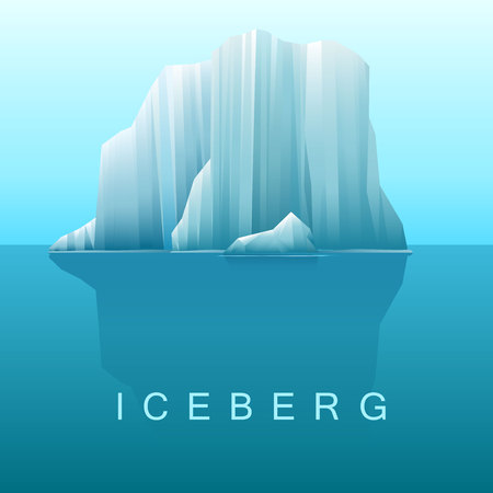 melting ice: Vector background of icebergs and sea.Illustration of Arctic or antarctic landscape.