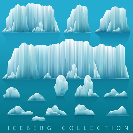 arctic: Parallax background of icebergs and sea. Vector illustration. Arctic or antarctic landscape.