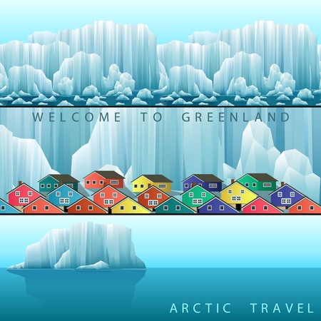 arctic landscape: Three vector web banners on the theme of Arctic Greenland or Iceland travel. Landscape with polar colorful town and icebergs.