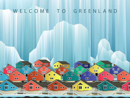 arctic landscape: Illustration of arctic greenland town with bright houses. Vector winter landscape.