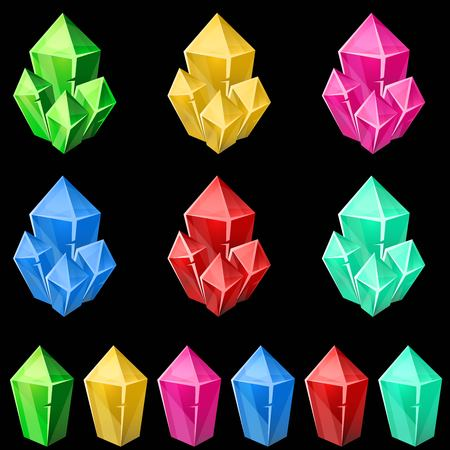 gems: Set of colorful crystals. 2d gem asset for games collection. Vector illustration.