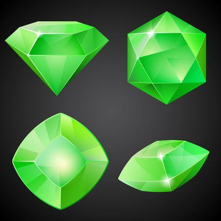 green gemstones: Set of green gemstones. 2d crystal asset for games collection. Vector illustration.