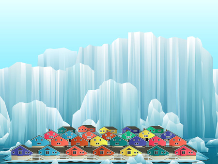 Parallax background of arctic greenland town with bright houses. Vector winter landscape.