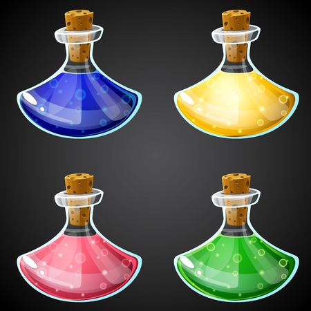 alchemist: Set of vector cartoon potion bottle. Vial with colorful liquid for game icons. GUI asset.