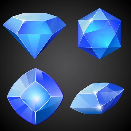 Set of blue gemstones. 2d crystal asset for games collection. Vector illustration. Reklamní fotografie - 58672508