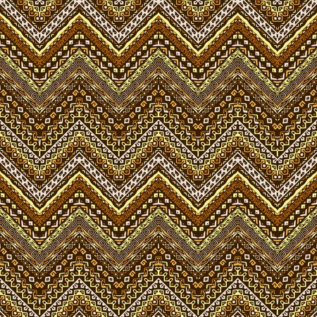 yellow  ochre: Vector african style chevron pattern with tribal motifs. Natural and elegant ornament with geometric hand drawn decorative stripes for prints, fabrics, backgrounds in brown, ochre and yellow colors Illustration