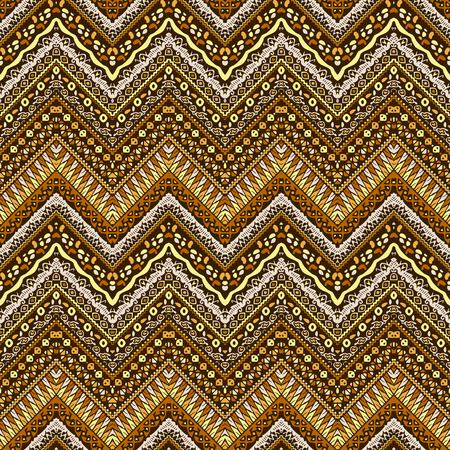 ochre: Vector african style chevron pattern with tribal motifs. Natural and elegant ornament with geometric hand drawn decorative stripes for prints, fabrics, backgrounds in brown, ochre and yellow colors Illustration