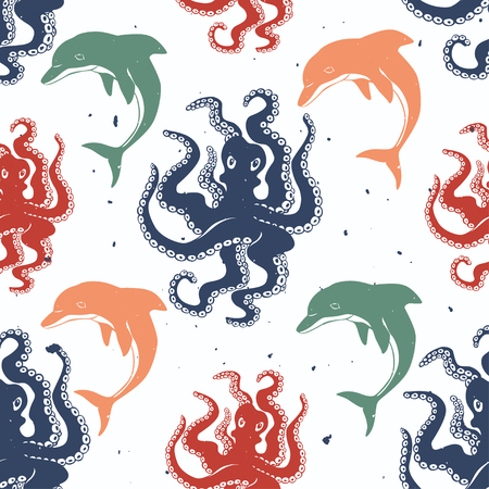inky: Octopus and dolphin seamless pattern. Handmade inky ornament, red,green and blue colors. Vector surface design.