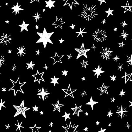 handdrawn: Seamless pattern with handdrawn stars. Doodle monochrome vector illustration. Illustration