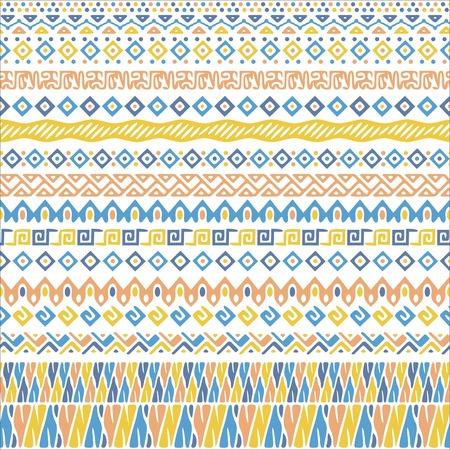 fondos azules: Vector patrón de estilo africano con motivos tribales. pastel suave y elegante con el ornamento geométrico a mano rayas decorativas para las impresiones, tejidos, y fondos de colores azul, amarillo y rosa. Vectores