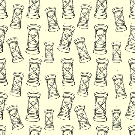 chronology: Grungy seamless pattern with hourglass in sketch handdrawn style. Inky vector illustration. Illustration