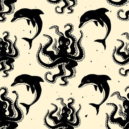 inky: Octopus and dolphin seamless pattern. Handmade inky ornament. Vector surface design. Illustration