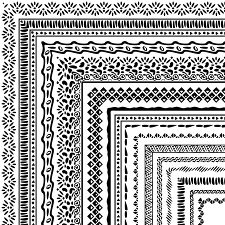 patterns vector: Vector brushes collection in boho style. African style ornament borders for patterns, mandalas and frames. Pattern brushes with corners are included in swatch panel.