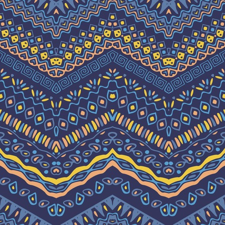 vector backgrounds: Vector African style chevron pattern with tribal motifs. Blue elegant ornament with geometric hand drawn decorative stripes for prints, fabrics, backgrounds in blue, yellow and pink colors.
