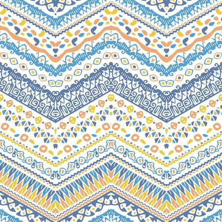 Vector African style chevron pattern with tribal motifs. Soft pastel and elegant ornament with geometric hand drawn decorative stripes for prints, fabrics, backgrounds in blue, yellow and pink colors.