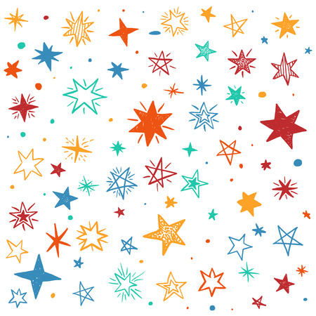 childish: Seamless pattern with handdrawn stars. Bright vector illustration.