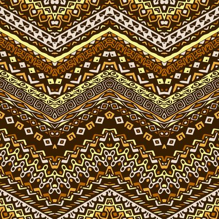 brown pattern: Vector African style chevron pattern with tribal motifs. Brown elegant ornament with geometric hand drawn decorative stripes for prints, fabrics, backgrounds in blue, yellow and pink colors.