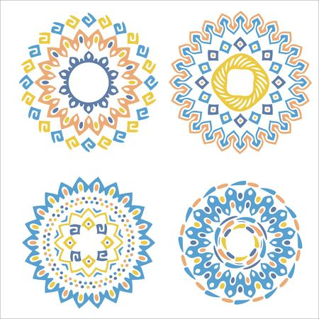 decorative pattern: Collection of bright colorful geometric round ethnic decorative elements. Vector mandala backgrounds with bohemian, African, Oriental, Indian, Arabic motifs. Illustration