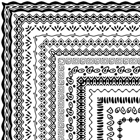 collection: Vector cepillos colección en estilo boho. estilo africano fronteras ornamento para modelos, mandalas y marcos. Los pinceles de motivo con esquinas están incluidos en el panel de muestras.