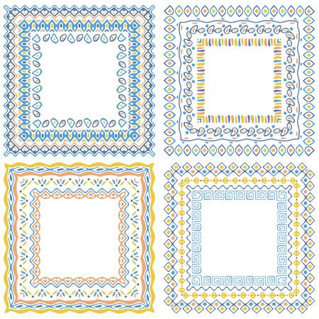 Collection de motif carré cadres avec des brosses attachées dans le panneau de brosse. Vector ornement frontières collection dans le style boho