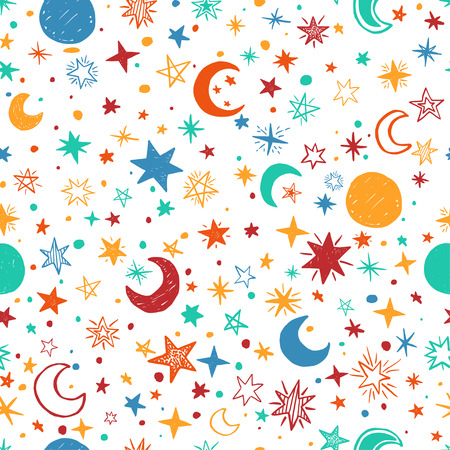 childish: Seamless pattern with handdrawn stars and moons. Doodle vector illustration.