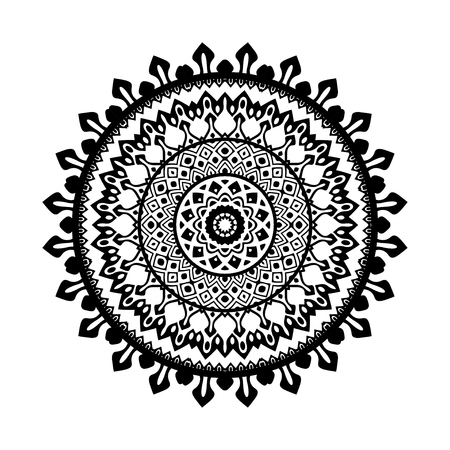 Black and white geometric round ethnic decorative element. Vector mandala background with bohemian, Oriental, Indian, Arabic, African motifs.