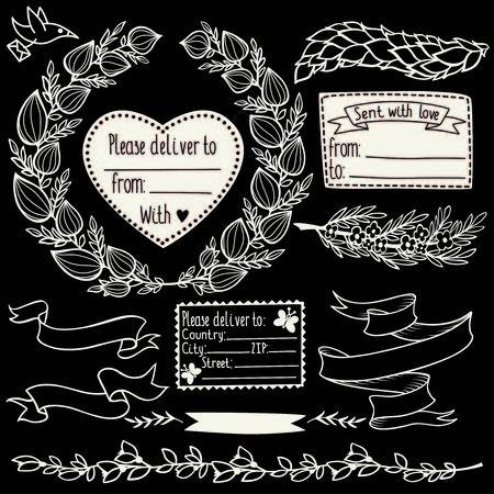 postmarks: Vector floral doodle design elements set with postmarks, laurels and branches.