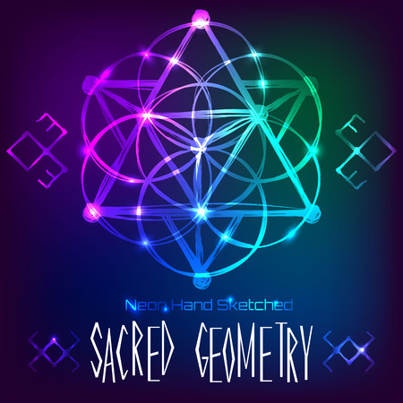 transmutation: Abstract background with hand sketched sacred geometry, neon light vector illustration
