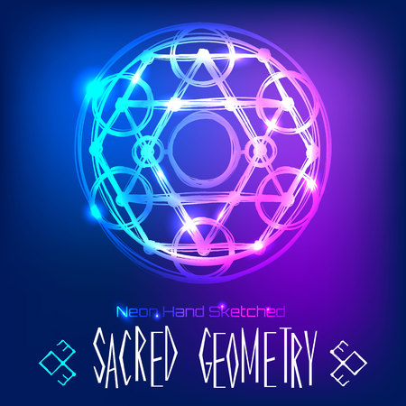 Abstract background with hand sketched sacred geometry, neon light vector illustration