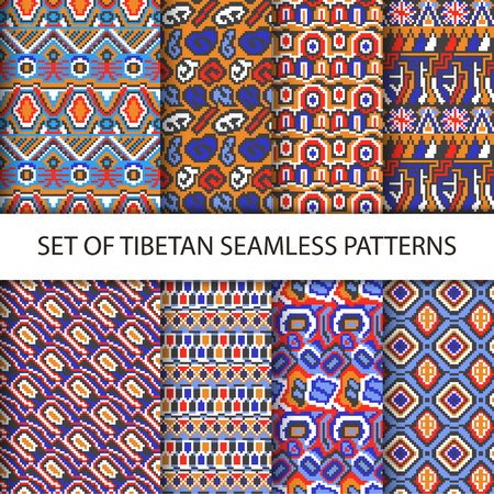 Collection of vector colorful pixel seamless patterns with Tibet ethnic ornament