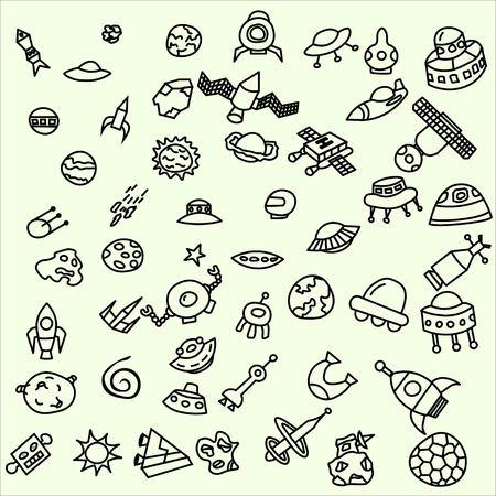 meteorites: Collection of cosmic doodles, ufo, meteorites, sausers, aliens.