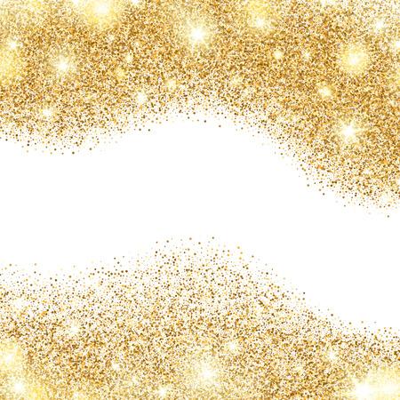 White background with golden dust borders. Vector illustration Illustration